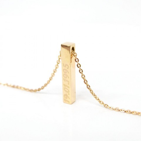 [REAL GOLD] 3D VERTICAL BAR NECKLACE
