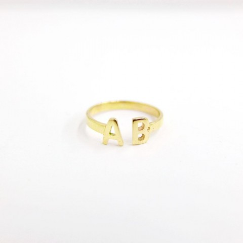 [REAL GOLD] DOUBLE INITIAL RING