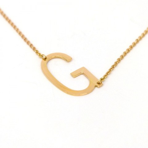 18K GOLD - SIDE INITIAL NECKLACE