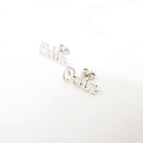 [REAL GOLD] NAME STUD EARRINGS