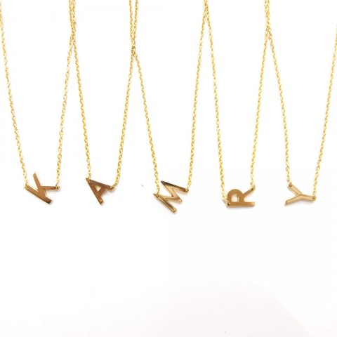 18K GOLD - MINI SIDE INITIAL NECKLACE